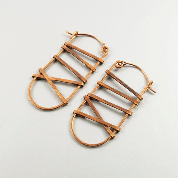 copper, hammered earrings