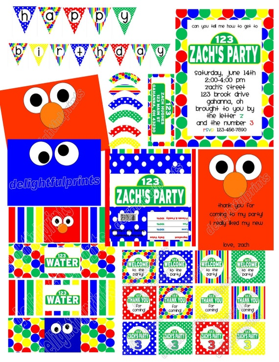 "HUGE Sesame Street inspired party.. customized invite, thank you card, banner,  2"" circles, water bottle, cupcake wrappers, & more"