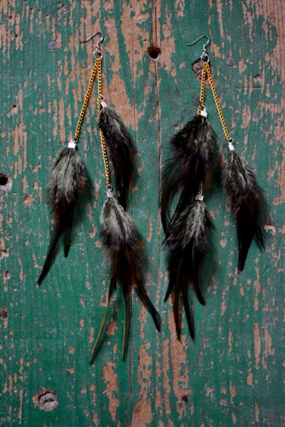 Brown Moss Long Feather Earrings