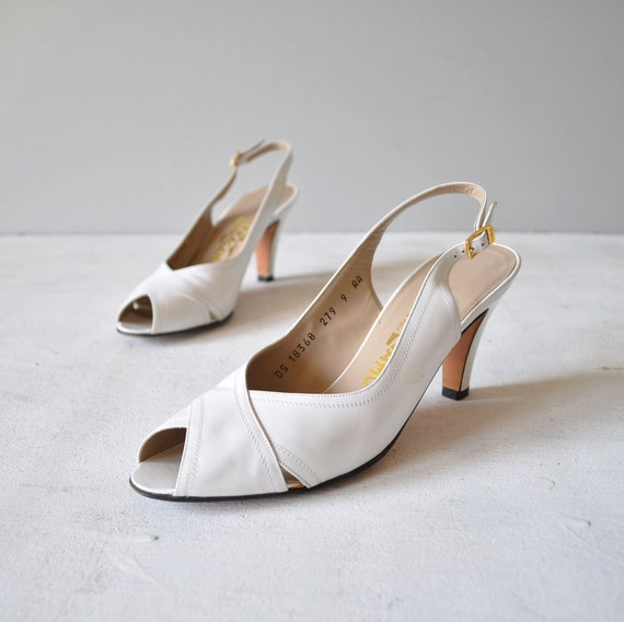 Vintage Ferragamo White Leather Peeptoe by MariesVintage on Etsy from etsy.com