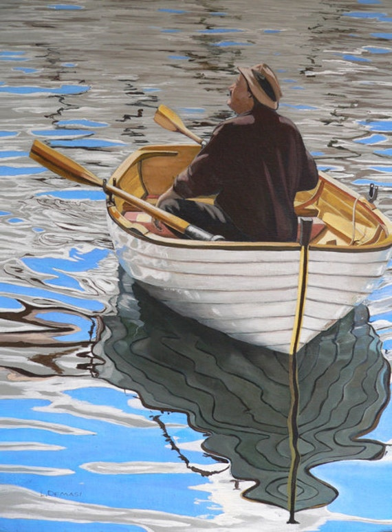 Row Boat ORIGINAL acrylic painting - (Splodgepodge)