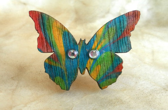 Hand Painted ring -Free shipping- butterfly. Wood. Ring is adjustable.