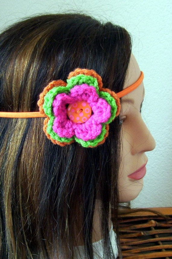 Flower Headband Triple Colors