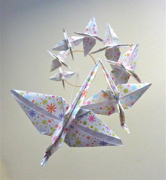 Origami Crane Mobile - Wildflowers - Baby Nursery Home Decor Unique Nature Gift White Floral Birds Garden