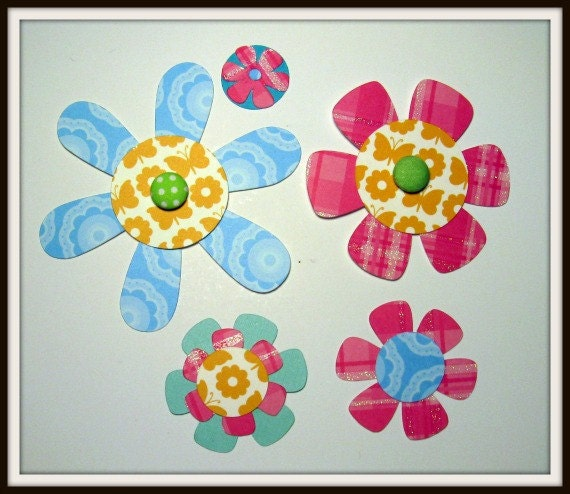 Stacked die cut flowers - set of 5 (020)