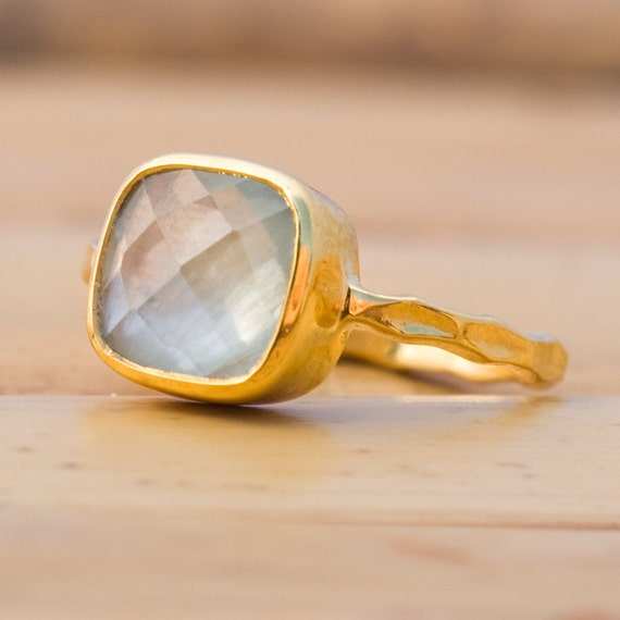 18K Hand Hammered Gold Vermeil and Faceted Prehnite Ring