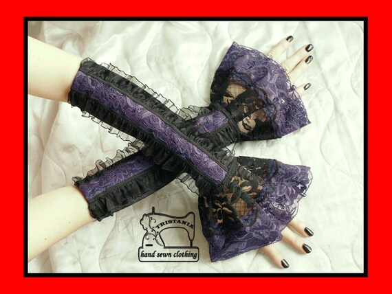 gothic cyber goth gloves arm warmers fingerless cuff harajuku queen of darkness lolita victorian steampunk corset style 0250