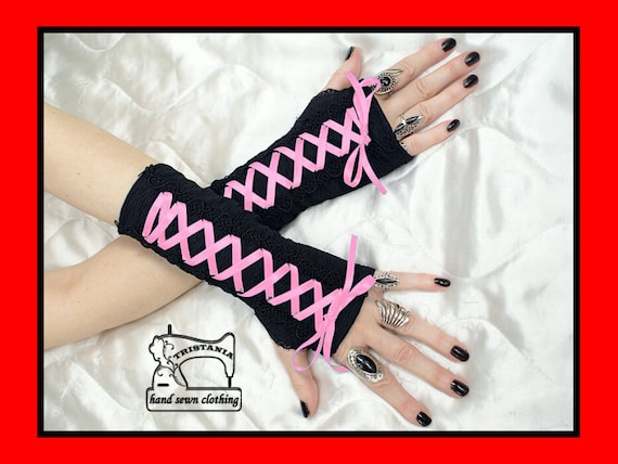 gothic cyber goth gloves arm warmers fingerless cuff harajuku queen of darkness lolita victorian steampunk corset style 0315