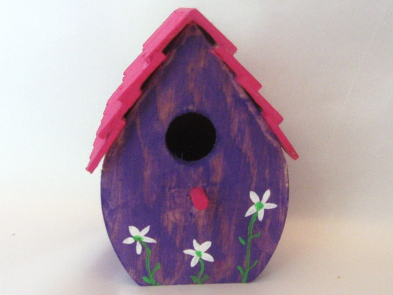 Mini birdhouse, purple and pink, scalloped roof, tiny painted white flowers.
