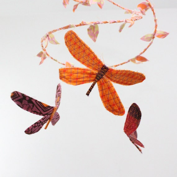 3 dragonflies dream of spring - fabric mobile in peach, orange, crimson red, pink, and purple