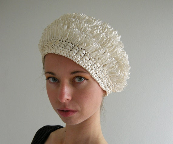 Cream Crochet Hat Vintage 60s Celo Straw Crocheted by empressjade
