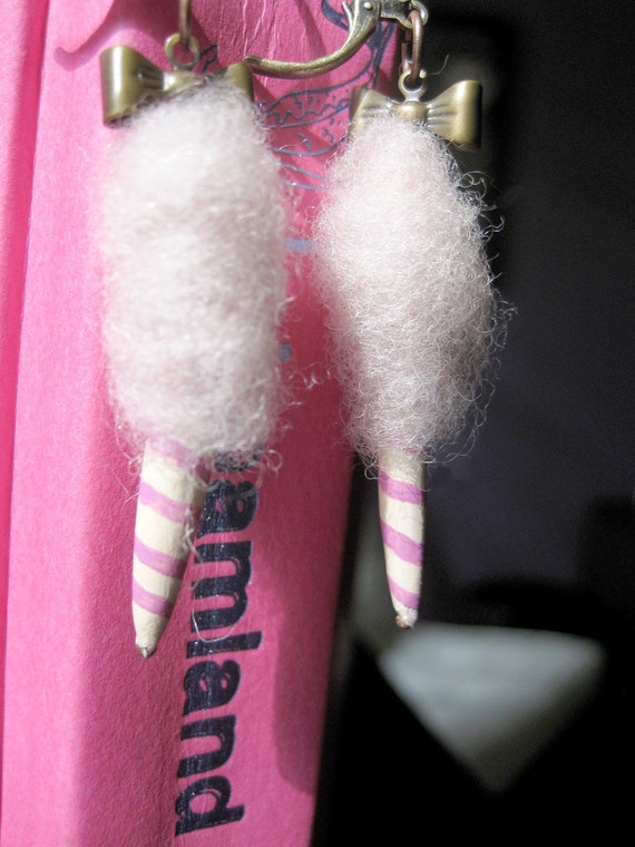 Miniature cotton candy earrings Pink Carnival