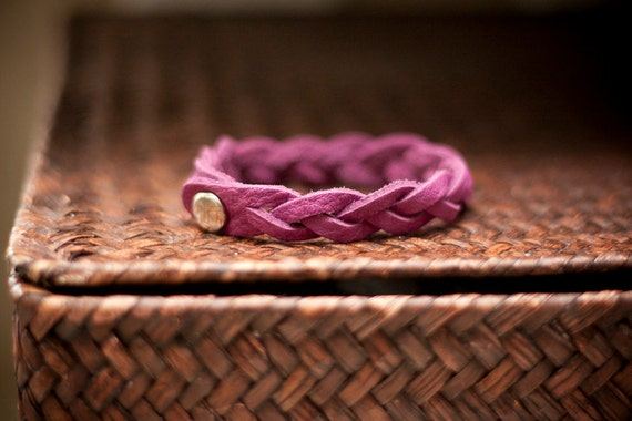 Amethyst Purple Braided Leather Bracelet