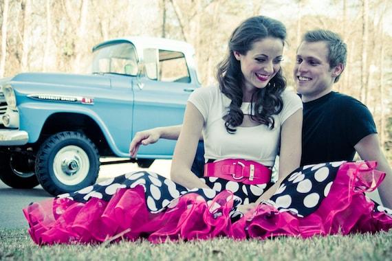 Full Circle Polka Dot Skirt and Petticoat Combo---------Custom Sized