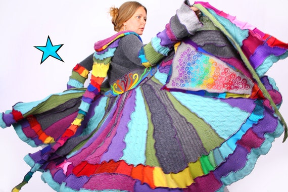 Recyled Sweater Coat - Rainbow Twirl - Reserved