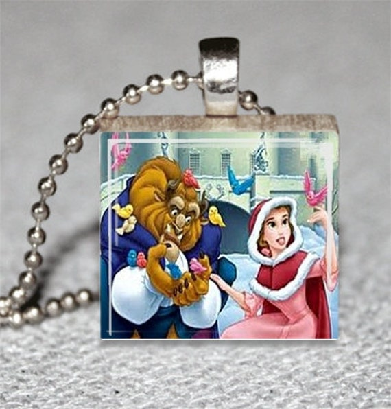Beauty and the Beast Scrabble Tile Pendant