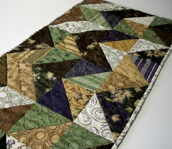 Purple, Green, Brown and Cream Dragonfly Summer Handmade Quilted Table Runner