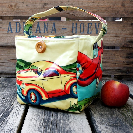 INSULATED Big Bento Box Lunch Bag in RETRO TRANSIT