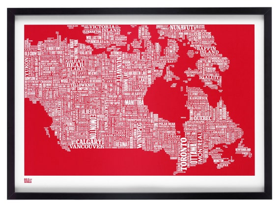 Canada Type Map in Poppy Red - decorative screen print