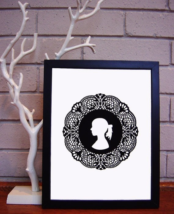 doily girl framed print