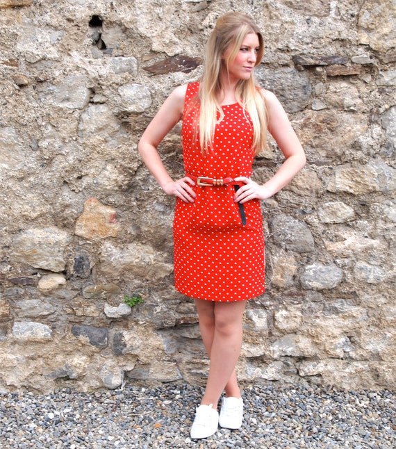 Kathrine, French Vintage, Cherry Red Polka Dot Shift Mini Dress from Paris