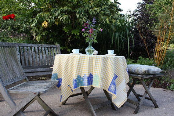 Blue City Table Cloth or Picnic Blanket