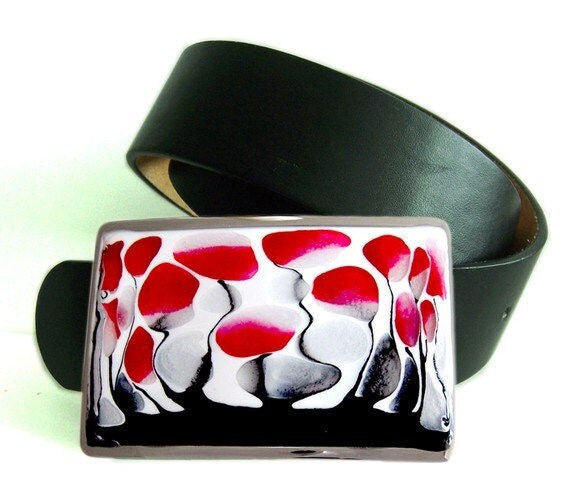 Belt Buckle Hand Painted Red Black and White Blossom Silver Belt Buckle  with a Glossy Enamel Finish, Customizable