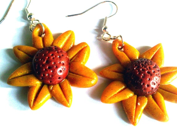 Sunflowers Polimery Clay Earrings