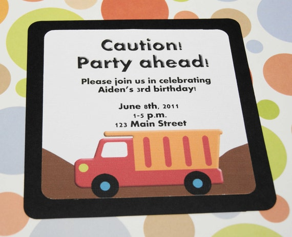 Personalized Dump Truck Birthday Invitation, Boy, Red, Yellow,  Construction Equiment - Set of 12