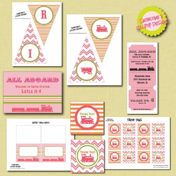 PRINTABLE Pink Train Pary - Pink All Aboard Party Collection
