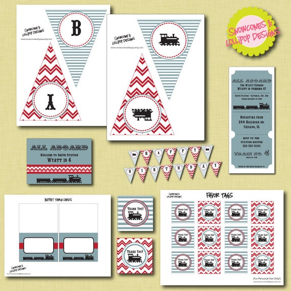 PRINTABLE Train Pary - All Aboard Party Collection