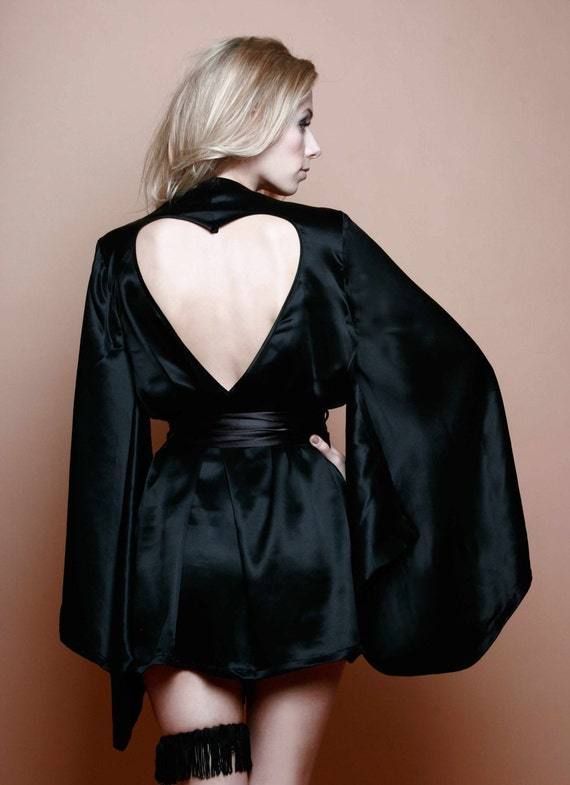 Sophia Black silk kimono Robe pure with heart cut out Black friday etsy , cyber monday etsy, FREE shipping Etsy