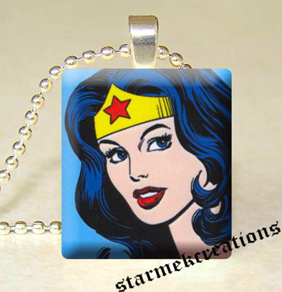 Scrabble tile pendant  Wonder Woman Comic by starmekcreations from etsy.com