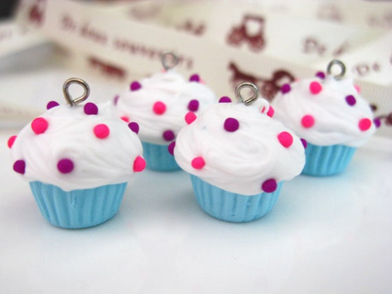 Blue Cupcake Charms - set of 4