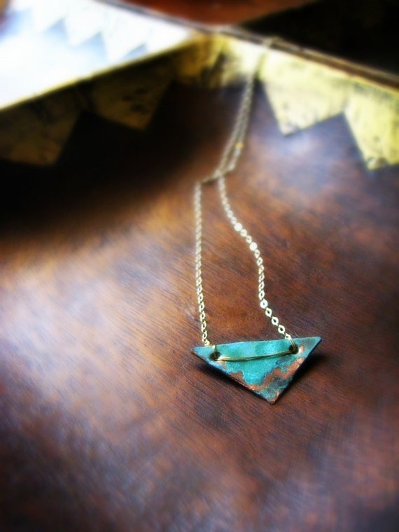 Alchemy Full Triangle Verdigris Patina necklace