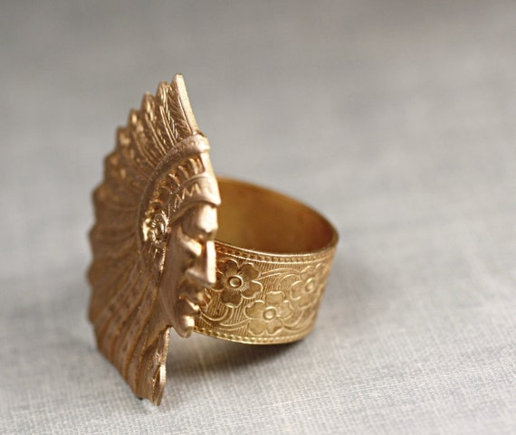 Brass Native American Indian chief ring