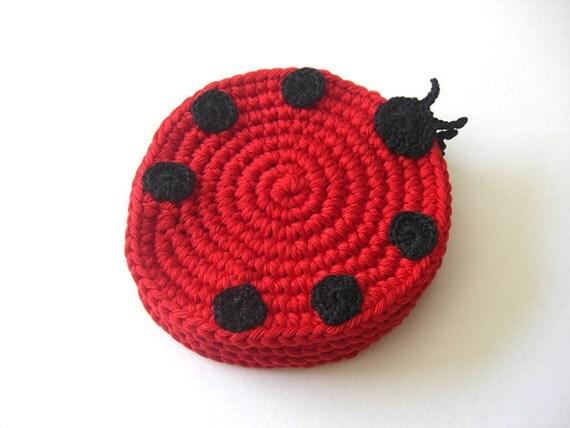 Ladybug Red Black Coasters . Beverage Nature Life Drink Dots Ladybird Ladybeetle Decor Crochet Cute Collection - Set of 4