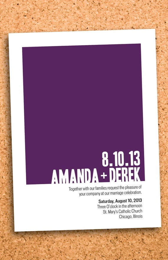 bold color wedding invite custom printable--5x7 digital file
