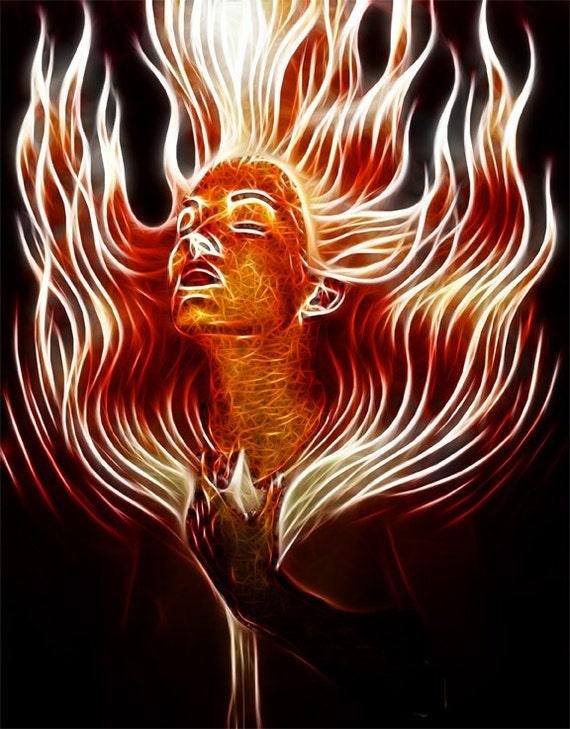flaming woman of the sea--8x10 Original Signed Fine Art Print - ($25)