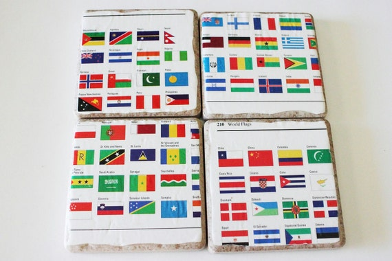 OOAK International Country Flag Travel Atlas Porcelain Drink Coasters SALE