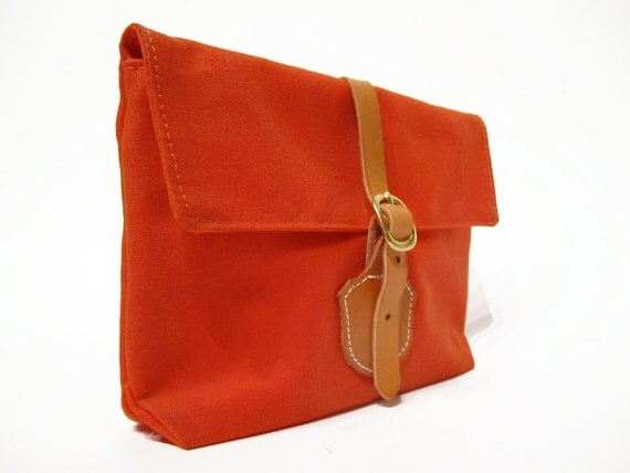 The Clutch in Orange waxed cotton
