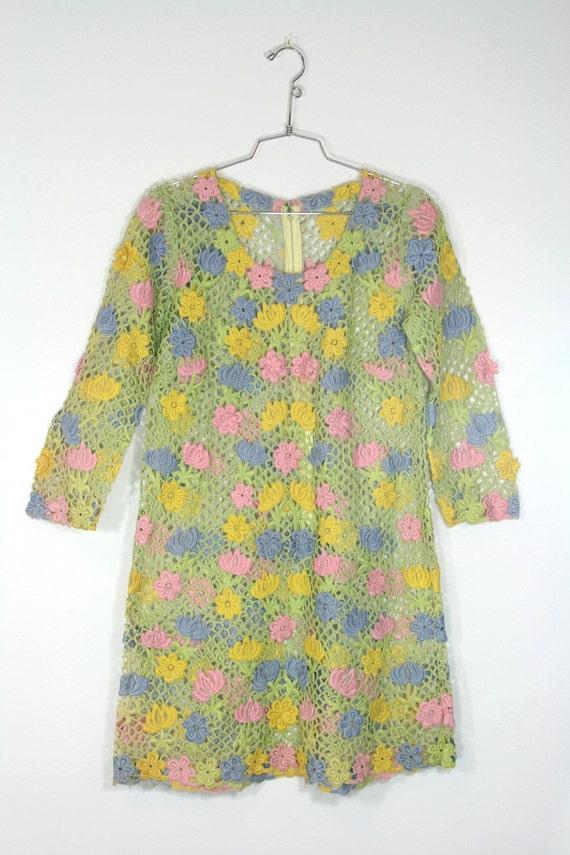 1960s Sheer Floral Mesh Dress