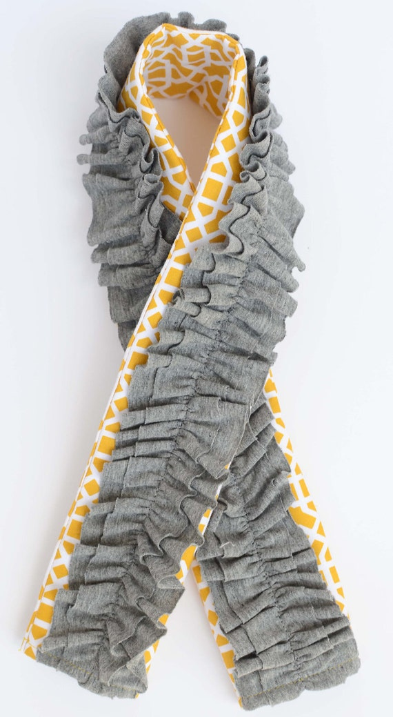 Camera Strap Cover- Trendy Yellow with Gray Ruffles