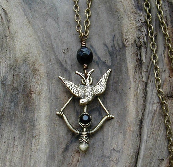 The Hunger Games  Inspired Bow and Arrow Necklace with Coal Black Crystals and Brass Mockingjay