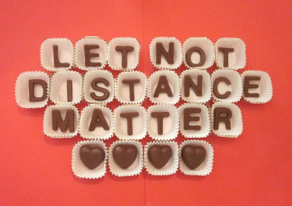 Personalized Milk chocolate letters-24 pc-let not distance matter name-mark-mary-heart-Long distance Valentines Thinking of You Gift
