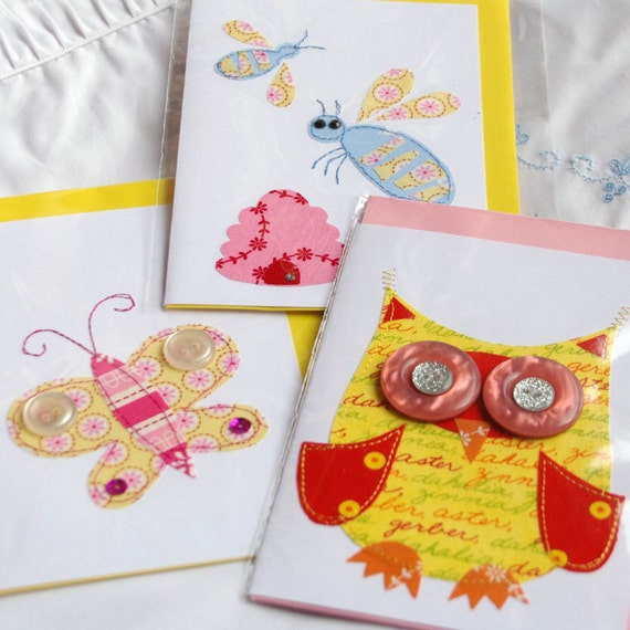 The Birds and the Bees.  Set of 3 stitched cards