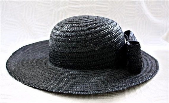 Vintage Black Straw Sunhat with Straw Bow in Back Jennifer Moore made in Italy by TogetherAgain on Etsy