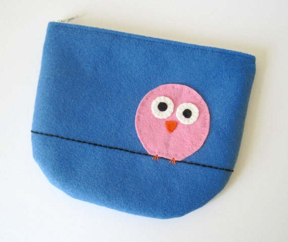 Bird on a Wire Felt Zipper Pouch