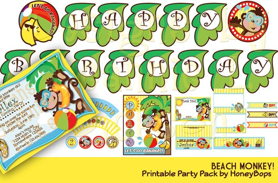 Beach Monkey DIY Printable Party Pack uPrint Digtal Files from etsy.com