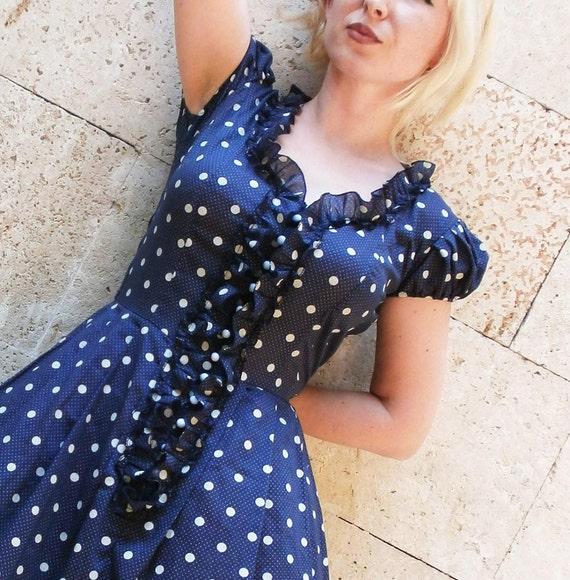 Dot navy cotton dress